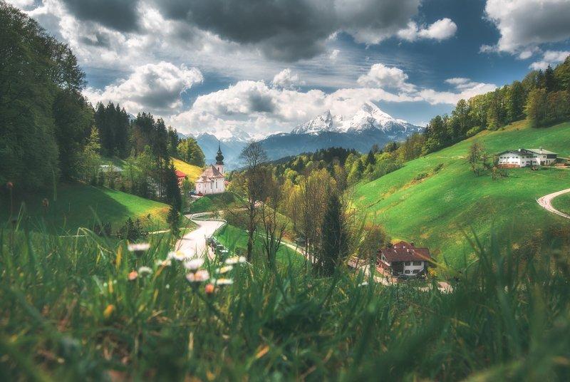 landscape,alps,mountains,church,travel,beautiful,bavaria Milkaphoto preview