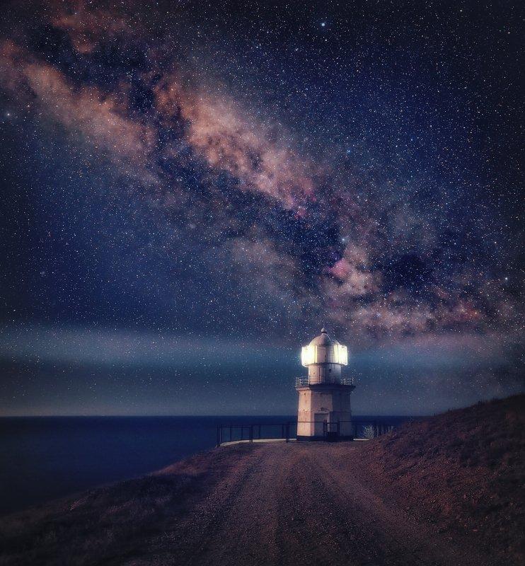 Маяк, мыс, Меганом, ночь, млечный путь, Маяк на мысе Меганомphoto preview
