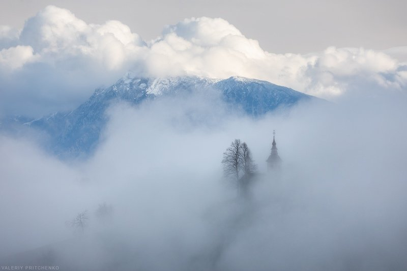 Slovenia, landscape, nature, church, природа, Словения, пейзаж, церковь, туман, горы В объятии природыphoto preview