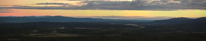 кольский, полуостров, полярный, день, ночь, лето Панорама теплой северной июльской ночиphoto preview