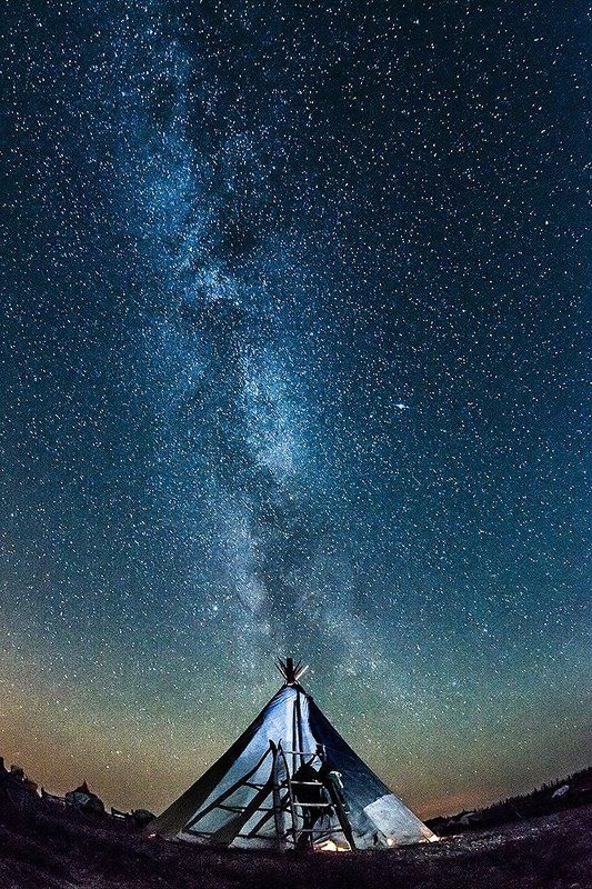 север, ночной пейзаж, чум, млечный путь \