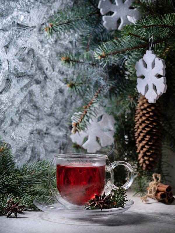 чай, чашка, стекло, зима, мороз Каркадэphoto preview