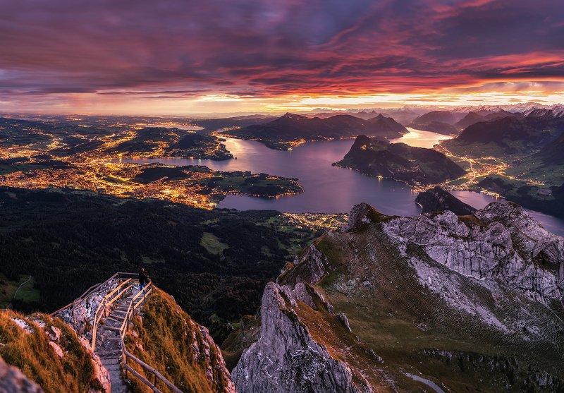 mountains, alps, pilatus, sky, lucerne, mylucerne, myswitzerland, switzerland, mountain, mount, landscape, dawn, sunrise, zoom, light, autumn, jesiennebarwyszwajcarii, sun Dragonphoto preview