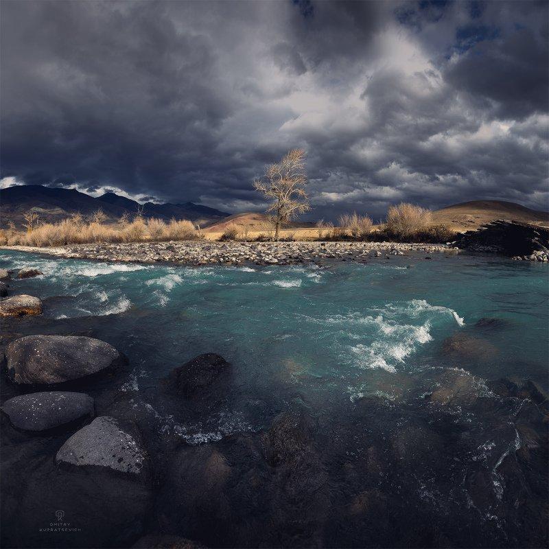алтай, россия, река, горы, осень, пейзаж, природа Перед бурейphoto preview