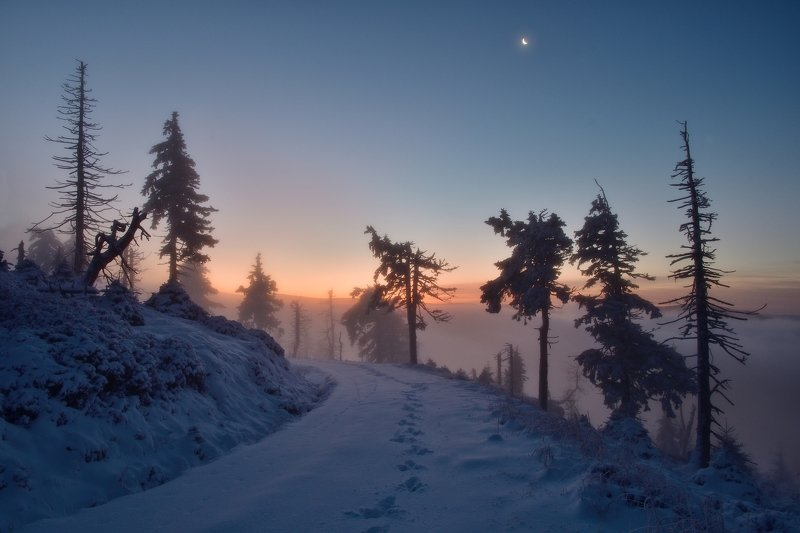 winter, snow, sunset, czech republic, ...when I turned back!photo preview