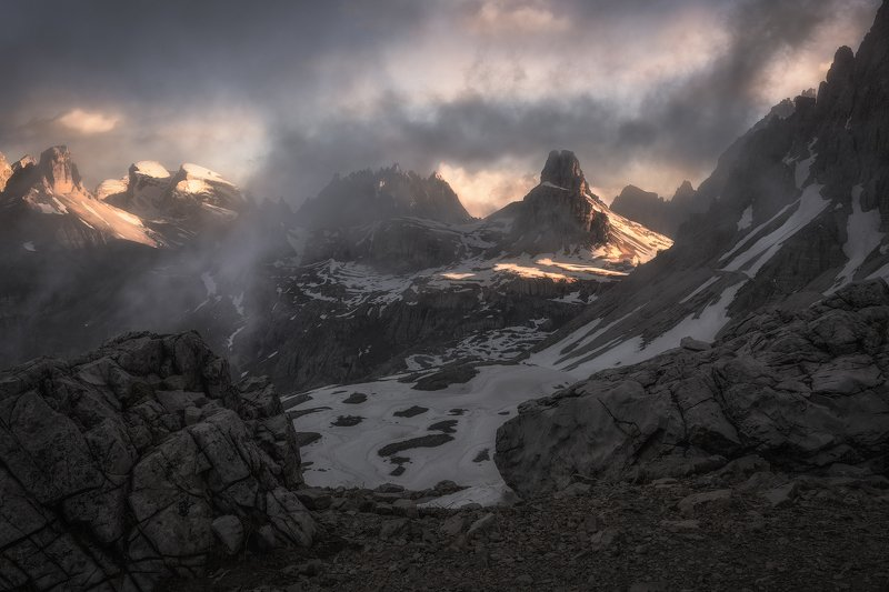 alps, Awakening, Beauty, Chalk Stone, Cliffs, Clouds, Dolomites, Drei Zinnen Hütte, fog, Fogg, foggy, Forcella Lavaredo, hiking, Italy, Klimbing, mist, Misty, morning, Morning Glow, Mountain Range, Mountain Top, Mountaineers, mountains, nature, outdoors,  Alpine Mysticismphoto preview