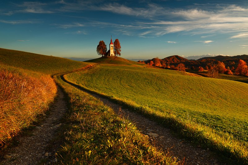 slovenia, sunset, church, road, trees, meadow, sky, Church of the setting sunphoto preview