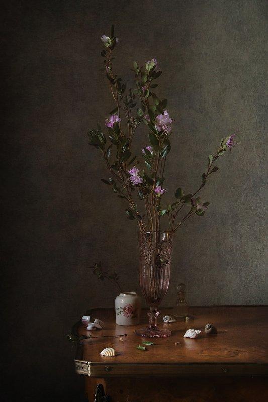натюрморт, стекло, фарфор, статуэтка, цветы, багульник Цветущие веточки багульникаphoto preview