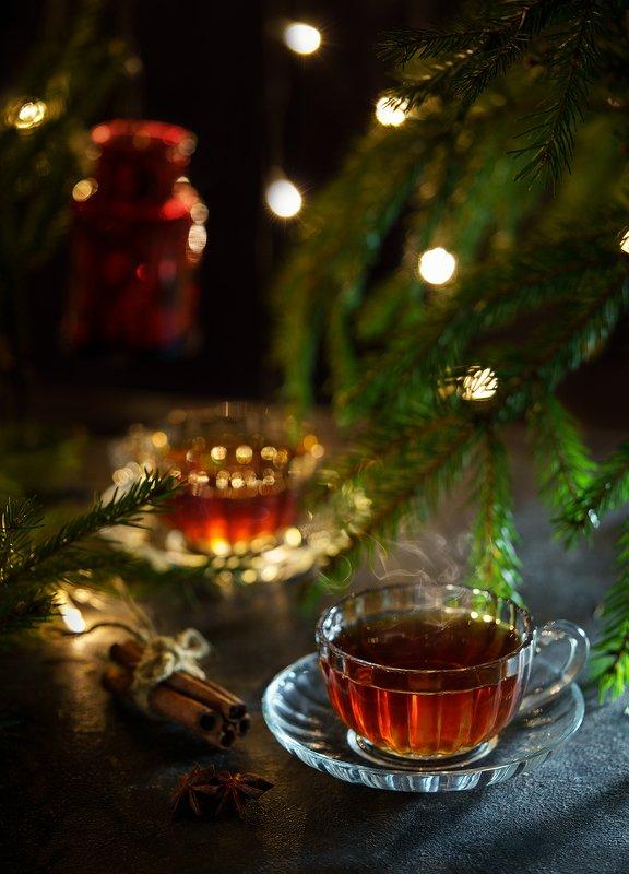 чай, чашки, боке, натюрморт, елка, праздник, атмосфера, свет Чайphoto preview