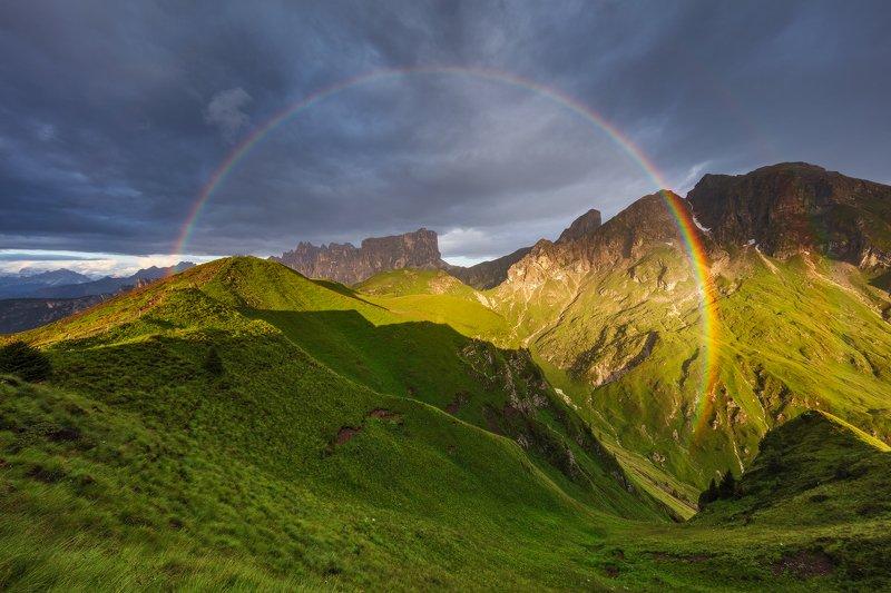 rainbow, rain, sun, mountains, summer, alps, dolomites, dolomiti, clouds, evening, sunset, nature, landscape, unesco Rainbowphoto preview