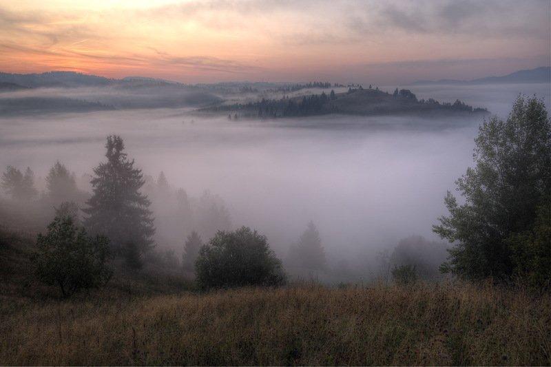 горы, карпаты, туман, утро, зори, заря Карпатские зориphoto preview