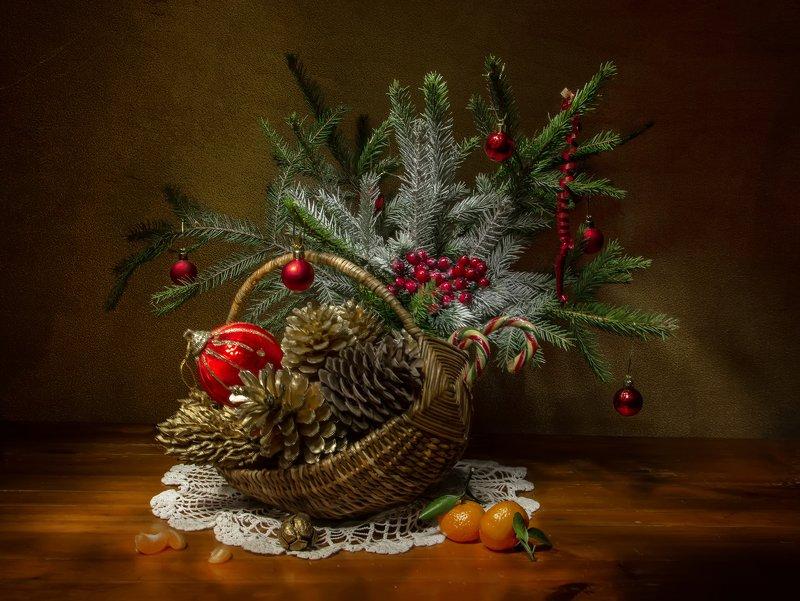 натюрморт, шишки, настроение, елка, ель, мандарины Новогоднее настроение... фото превью