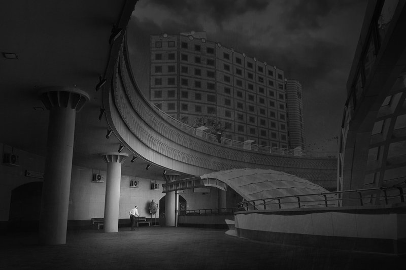 architecture, street,, human, conceptual, art, fine art, minimal Lonely and Curvedphoto preview
