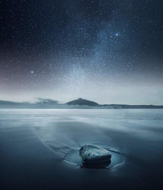 Water, long exposure, stars, milky way, stone, sea, mountain, beach *photo preview