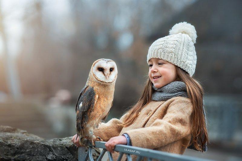 art photo, art, портрет, portrait, осень, autumn, ребенок, дети, животное, сова, птица, owl, радость, малыши, друзья, happy, любовь, love, 105mm, kid, children, beautiful, people, eyes, face ***photo preview