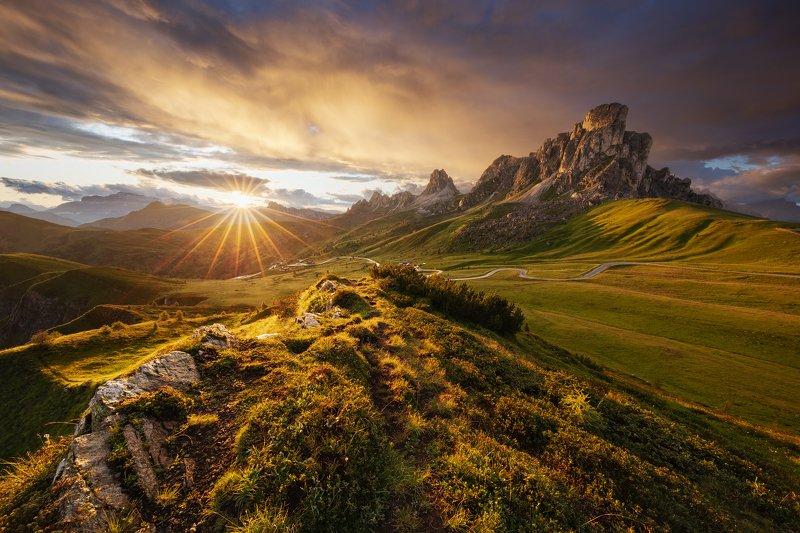 clouds, sky, sunset, mood, rain, sunset, dolomites, alps, dolomiti, italy, italia, mountains, unesco, peaks Mountain Dramaphoto preview