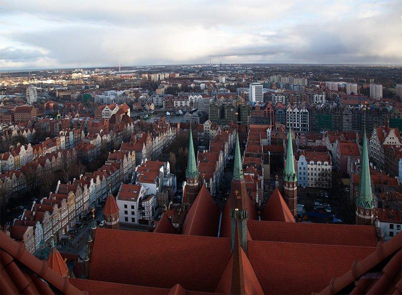 путешествие, польша, гданьск, город, православие, религия, костёл, девы, марии, пейзаж Гданьск с высоты 85 метровphoto preview