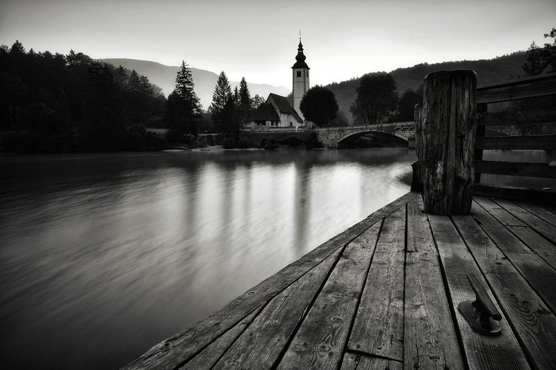 summer, slovenia, Summer morning on the pierphoto preview