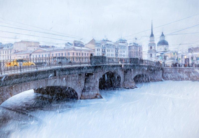 город,зима,мост,снегопад,метель,архитектура Снегопад.photo preview