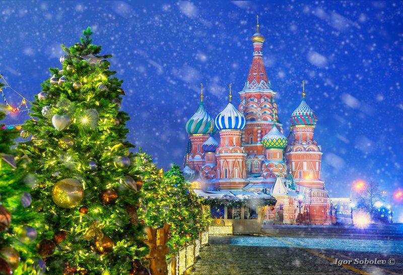 собор василия блаженного, москва, зима, утро, st. basil\\\'s cathedral, moscow, winter, morning, снег, snow Собор Василия Блаженногоphoto preview