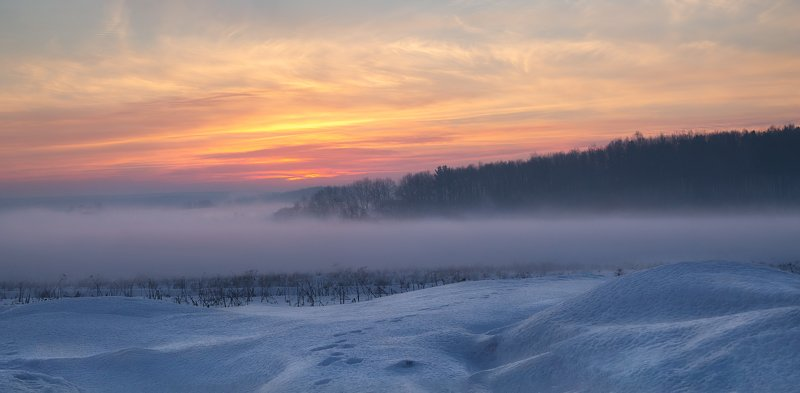 рассвет, зима, дымка, Воспоминание о зимеphoto preview