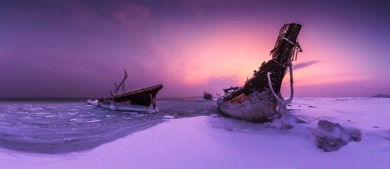 панорама, море, шхуны, зима, снег Оставленные...photo preview