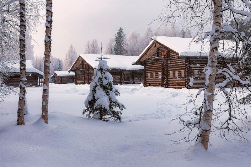 зима, снег, деревня, дома, деревья, елка, новый_год Сказочная деревняphoto preview