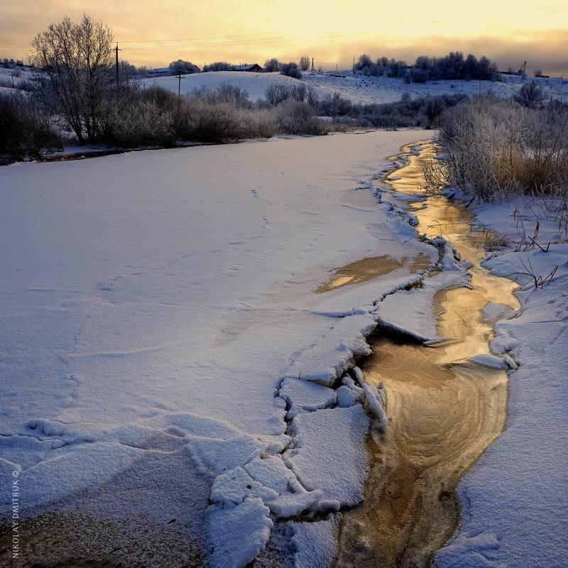 пейзаж закат зимы. д. Кехтаphoto preview
