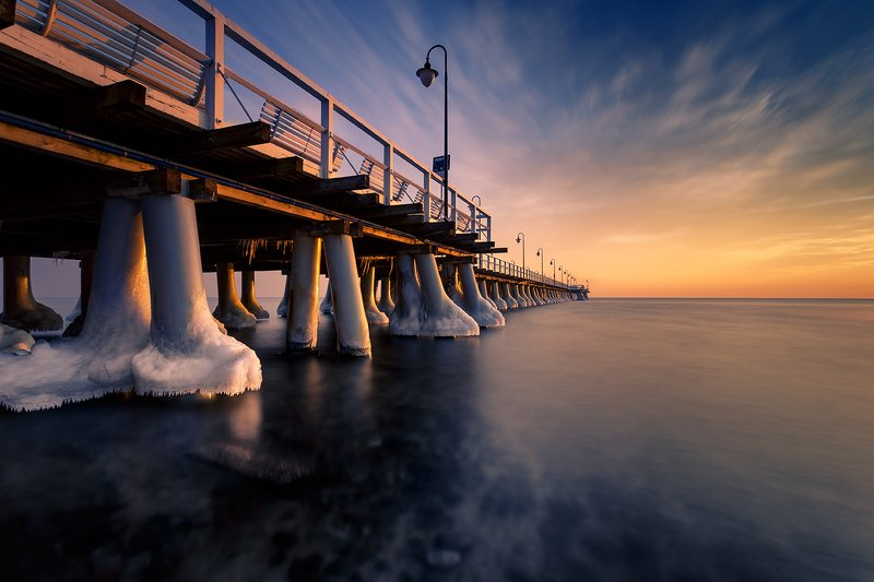 baltic sea, poland, pier, water, sea, snow, frost, ice Pierphoto preview