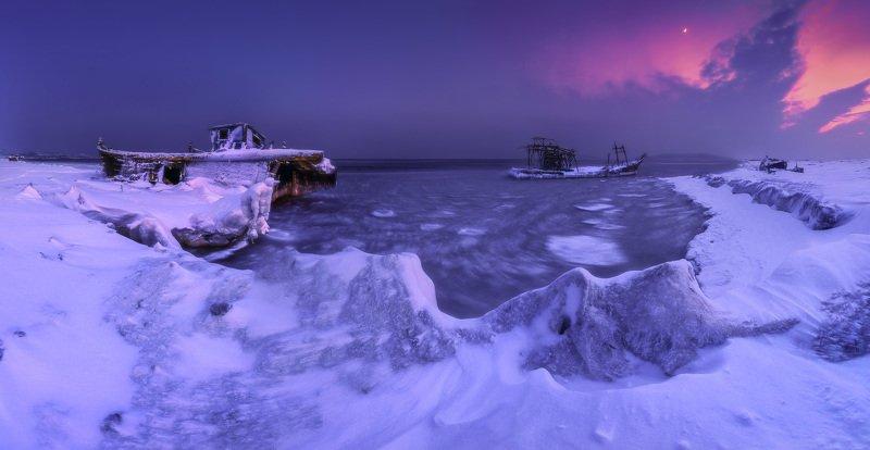 панорама, зима, море, шхуны ***photo preview