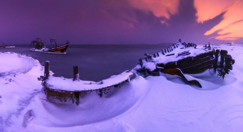 панорама, море, зима, шхуны ***photo preview