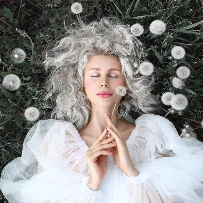 блондинка, одуванчики, девушка в одуванчиках, седые волосы, невесомость photo preview