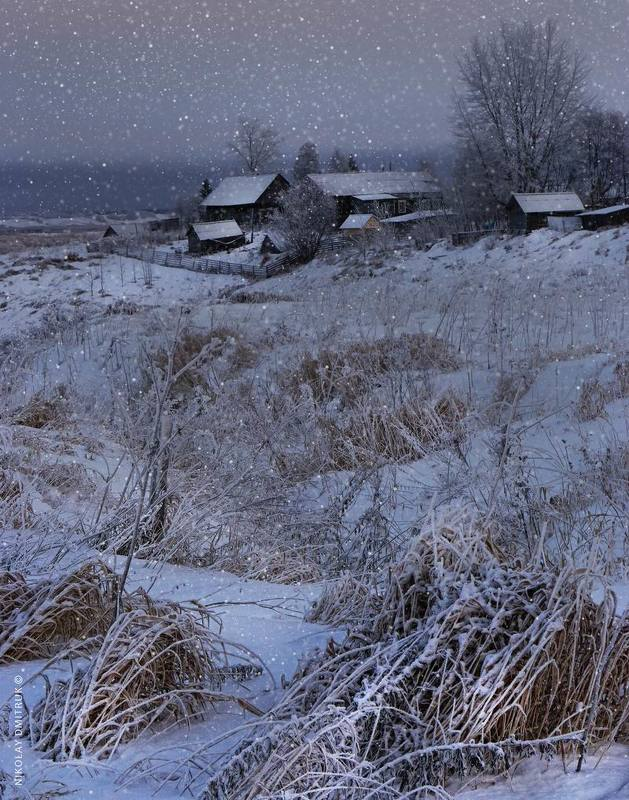пейзаж зима . 15 часовphoto preview