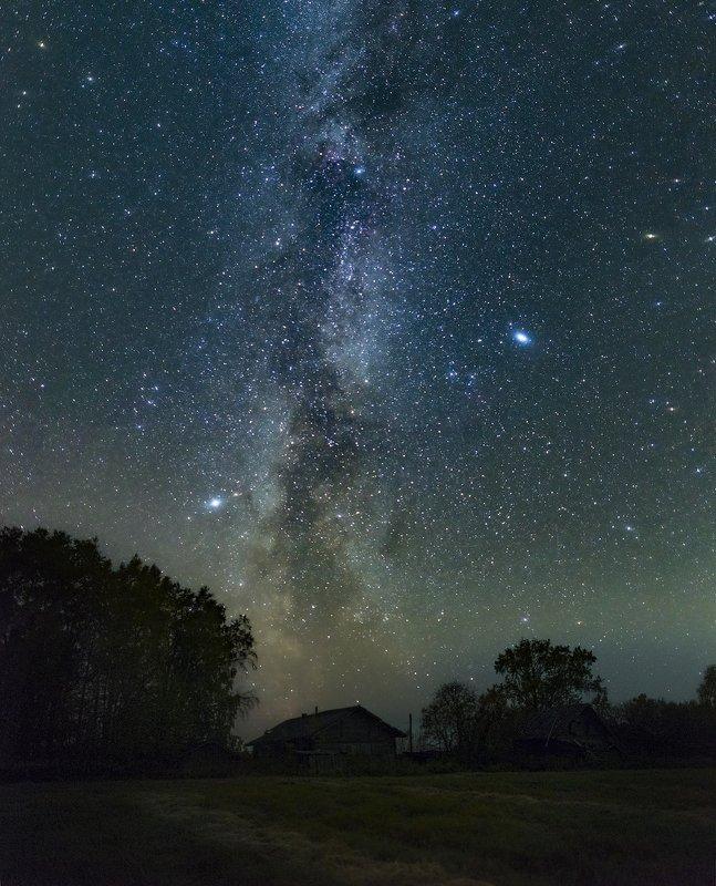 архангельская обасть, ночное фото. млечный путь, русский север Дорожка в небоphoto preview