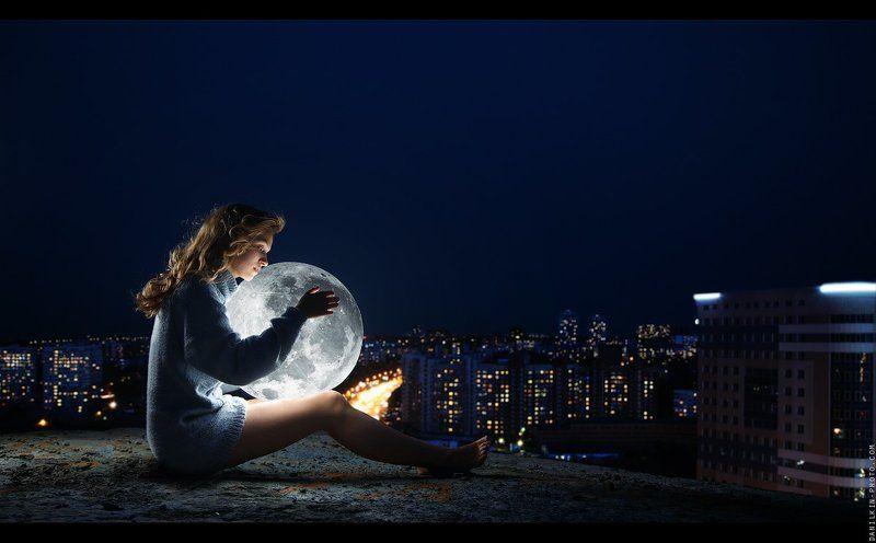 девушка, луна, крыша, город, свитер, Девочка и шарphoto preview