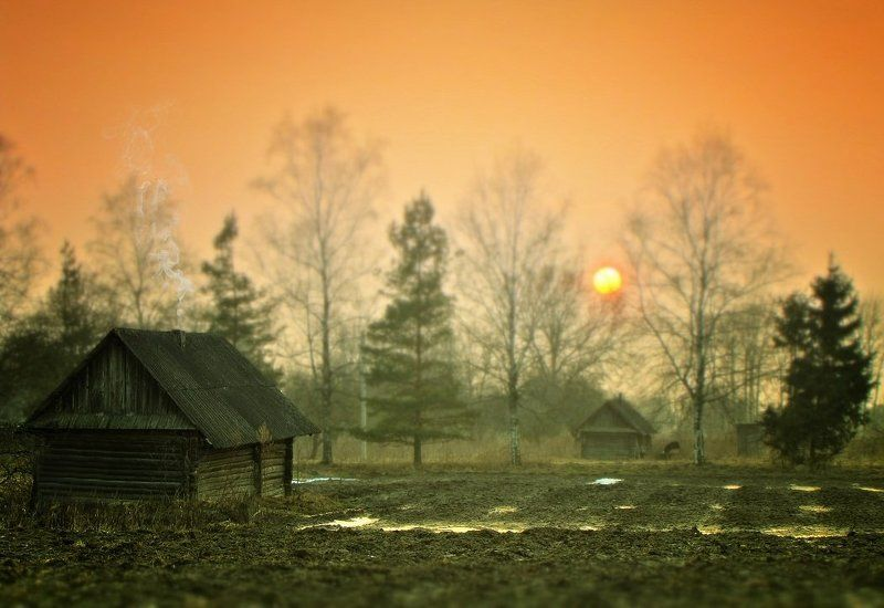 домик, дым, деревня, вечер, солнце Магическая деревушкаphoto preview
