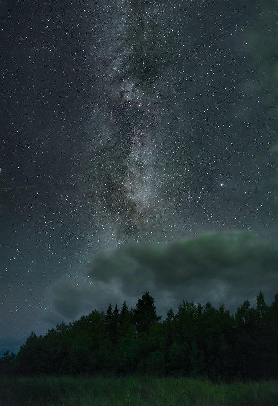 северное сияние, русский север, ночь, астрофото, звезды, ночное небо, млечный путь Осенние ночи на Куртяевоphoto preview