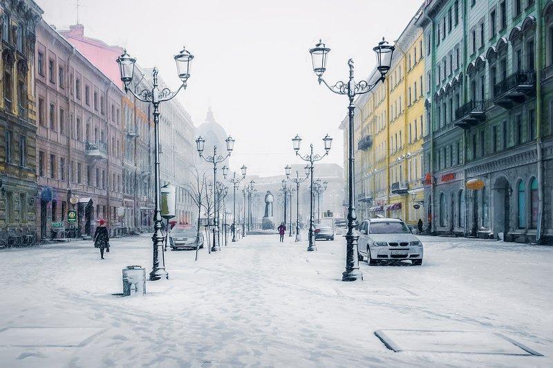 город,зима,улица,архитектура,снег,фонари,люди,снегопад Снежный город.photo preview