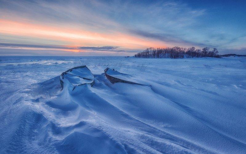 зима, белое море, снег, лед, лодка Белое мореphoto preview