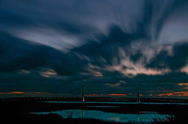 bridge; reflect; blue hour; light; sunrise; Blue hour on Nomandy bridgephoto preview