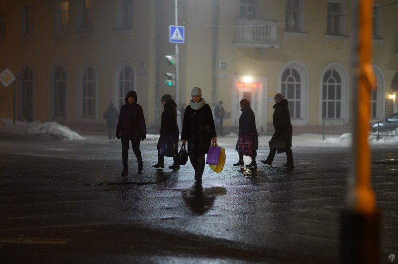 уличная фотография, streetphotography, ночь, туман, Подиумphoto preview