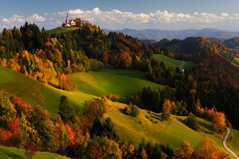autumn, colors, tree, church, slovenia, hill, mountain, meadow Autumn colorsphoto preview
