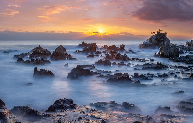 seaside, rock formation, beach, sunrise, outdoor, water, nature, At the Beachphoto preview