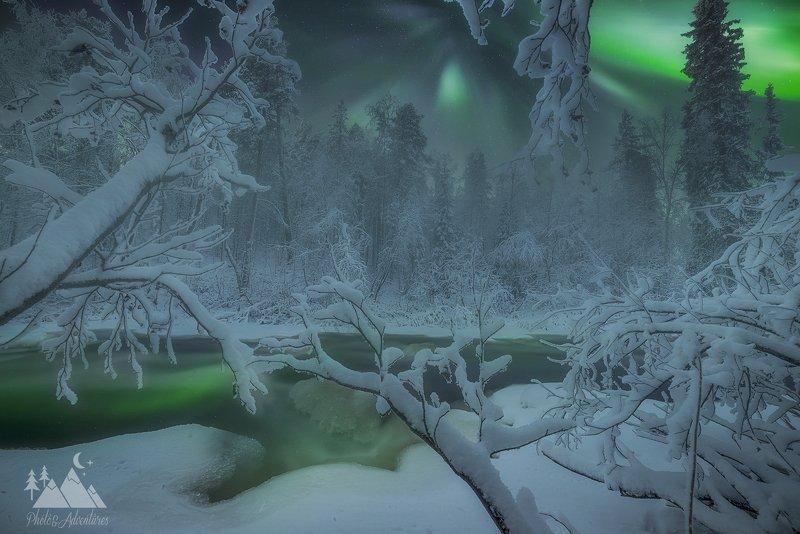 Aurora borealis, северное сиягие, Кольский  полуостров,KolaPeninsula,Nnightscape Aurora Borealisphoto preview