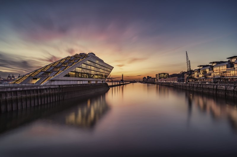 dockland, building, water, river, elbe, sunset, longexposure Dockland 5photo preview