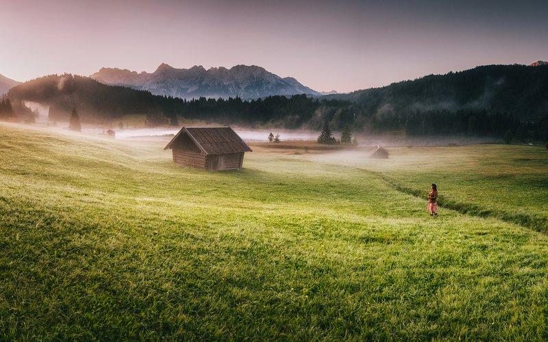 mountains, alps, bavaria, sky, germany, alpine, cottages, village, fog, lake, mountain, mount, landscape, light, sunrise, sun, dawn Misty Morningphoto preview