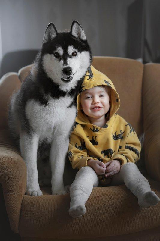 дети, хаски Best friendsphoto preview