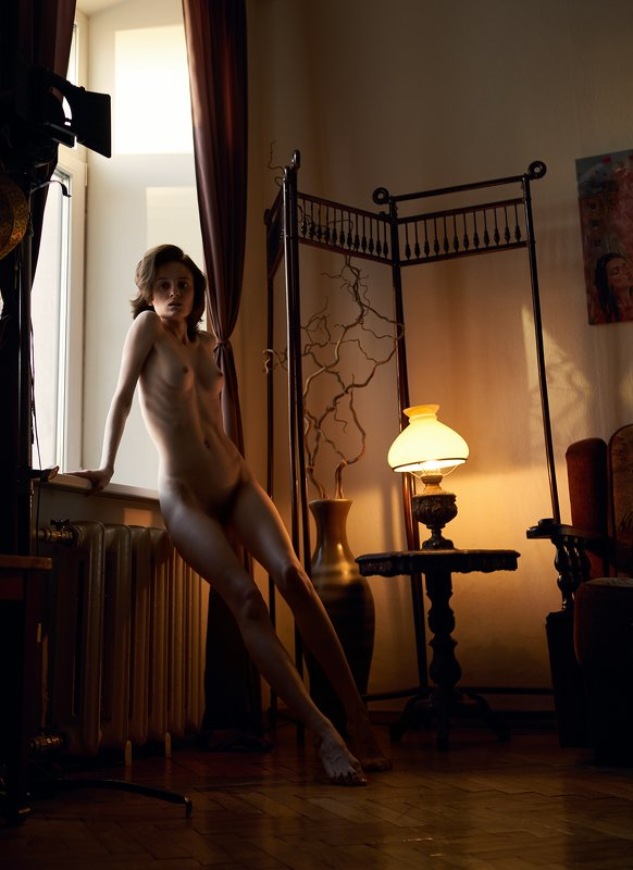 girl, nude, naked, at home, antique, lamp, light, natural light, saint-petersburg, skinny, body, art Dphoto preview