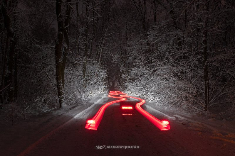 night, car, nighttrails, snow, winter, road, forest, landscape, nightscape Snow, trees and trailsphoto preview