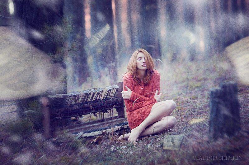 девушка,фото,лес,снег,зима,ноты,пианино,арт,girl,photo,forest,snow,winter,music,piano,art,vladimir,shipulin,владимир,шипулин * * *photo preview